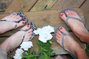 First things first... Amy and I got a pedicure!  This was nice because I'm having a harder and harder time touching my toes these days.