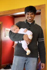 """Daddy, Showing off his """"little"""" Leila"""