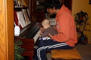 Leila plays some tunes with Daddy